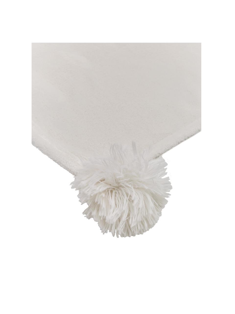 Kuscheldecke Bomla in Creme mit Pompoms, 100% Polyester, Creme, 130 x 170 cm