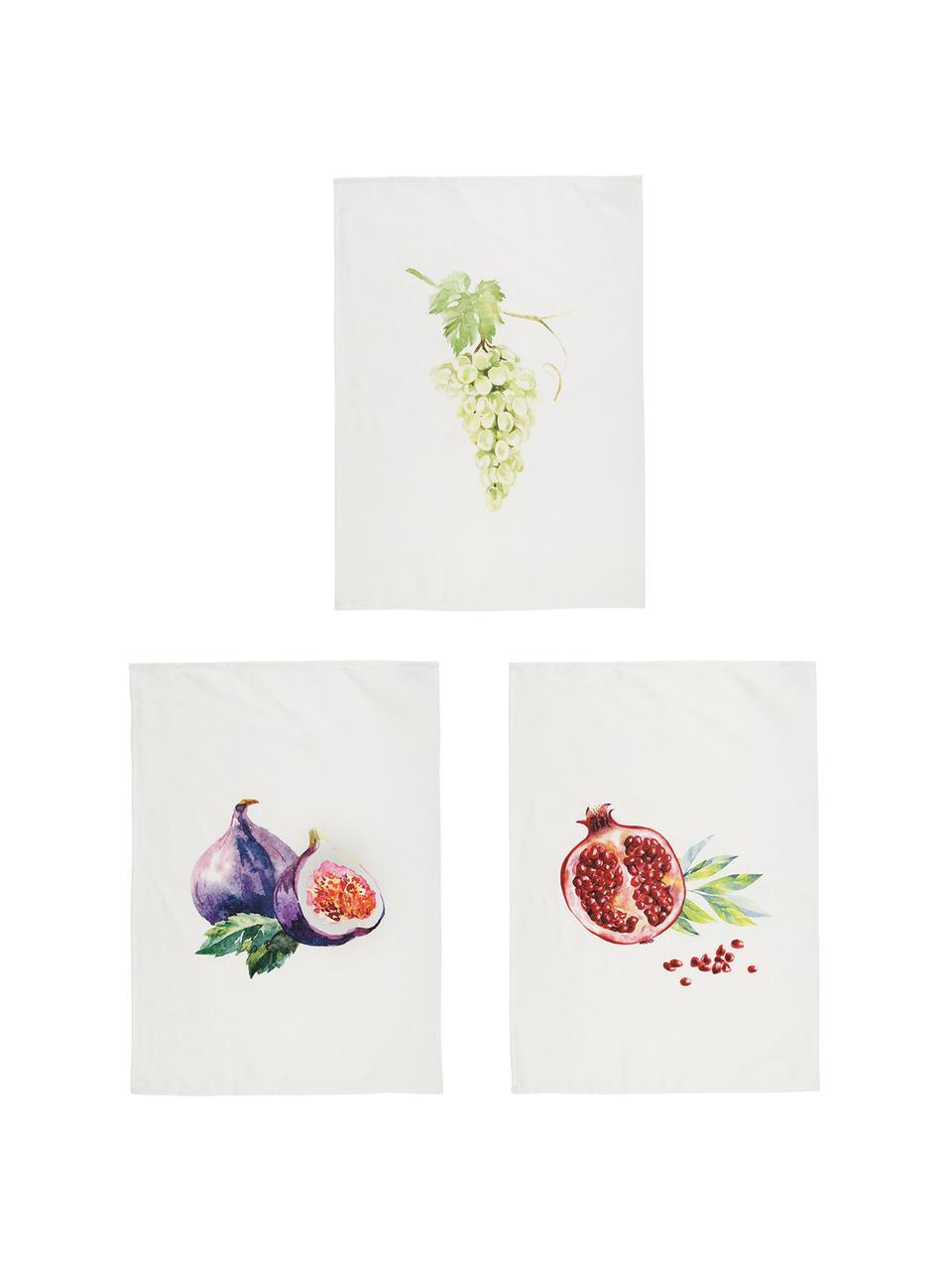 Komplet ręczników kuchennych Fruits, 3 elem., Bawełna, Biały, wielobarwny, S 50 x D 70 cm