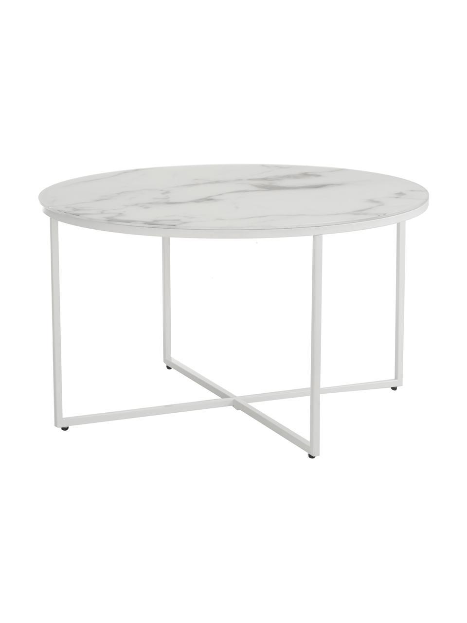 Tavolino da salotto con piano in vetro effetto marmo Antigua, Struttura: acciaio verniciato a polv, Bianco-grigio marmorizzato, bianco, Ø 80 x Alt. 45 cm