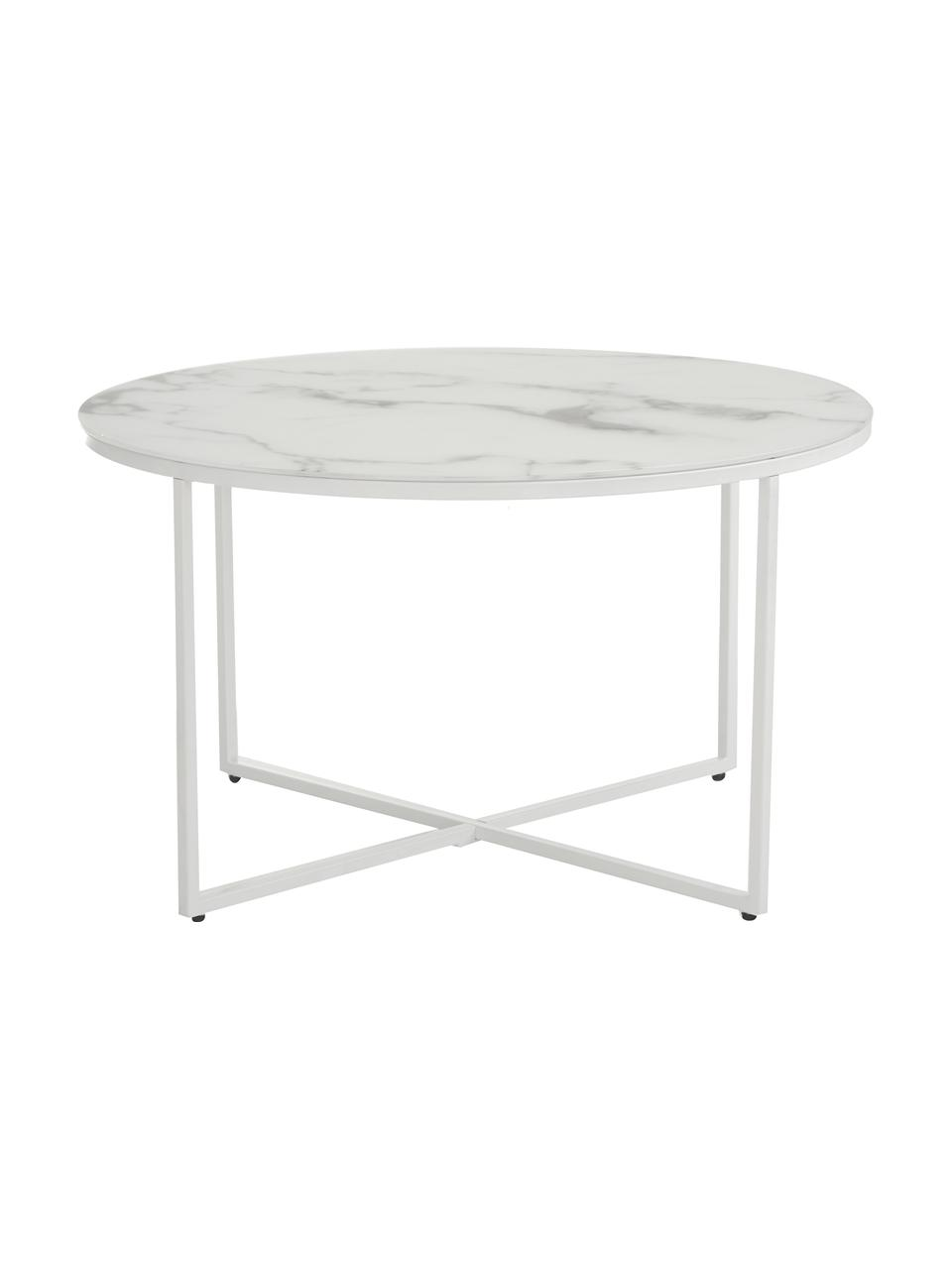 Salontafel Antigua met glazen tafelblad met marmerlook, Tafelblad: mat bedrukt glas, Frame: gepoedercoat staal, Wit-grijs gemarmerd, wit, Ø 80 x H 45 cm