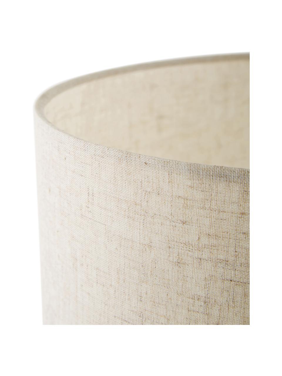 Grote keramische tafellamp Christine, Lampenkap: textiel, Lampvoet: keramiek, Decoratie: vermessingd metaal, Beige, grijs, Ø 28 x H 53 cm