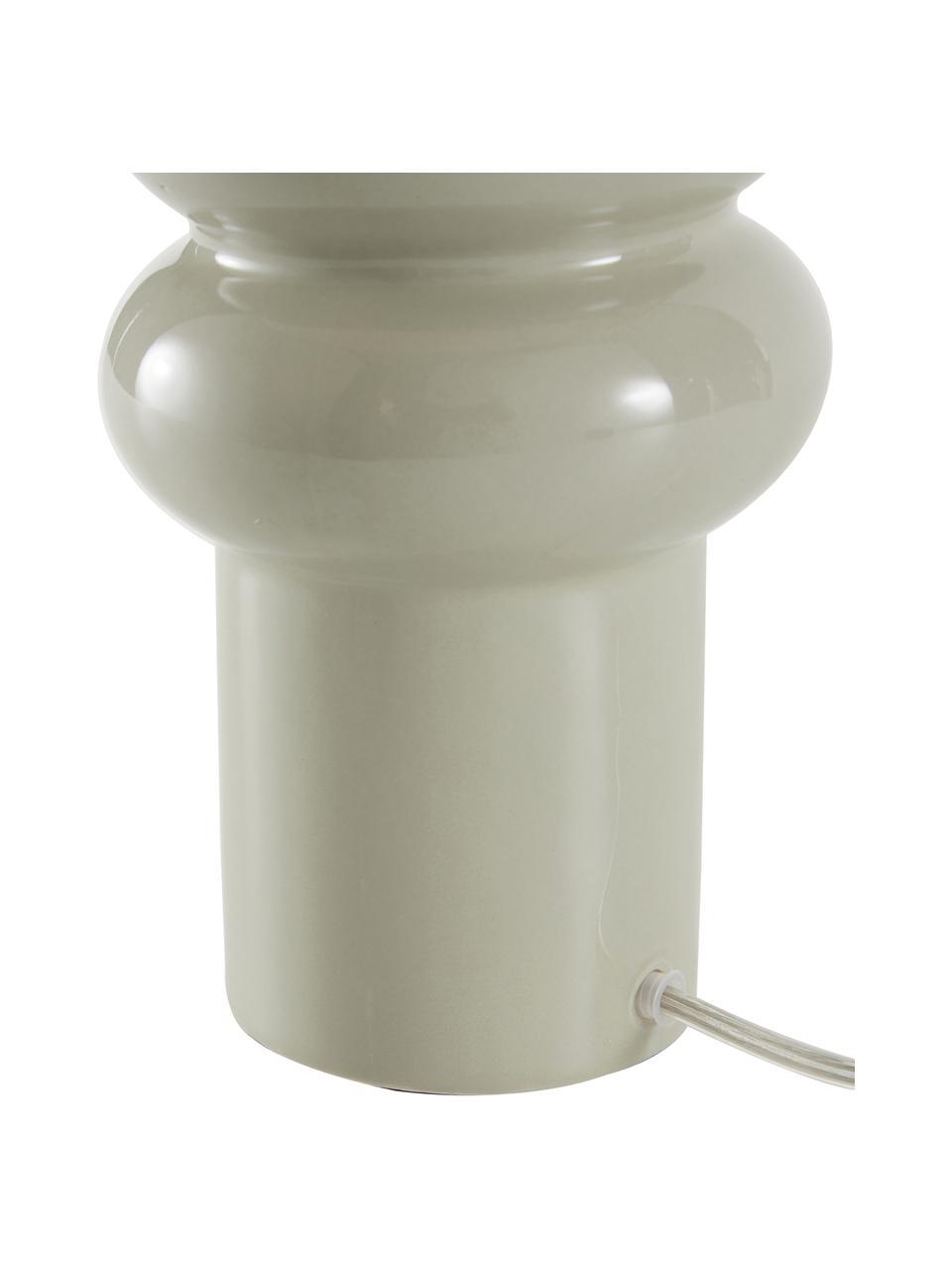 Große Keramik-Tischlampe Christine, Lampenschirm: Textil, Lampenfuß: Keramik, Dekor: Metall, vermessingt, Beige, Grau, Ø 28 x H 53 cm