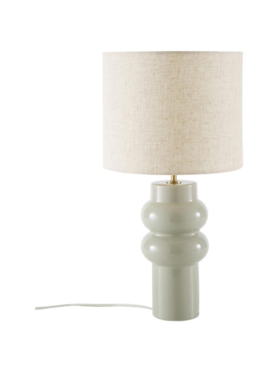 Lampada da tavolo in ceramica Christine, Paralume: tessuto, Base della lampada: ceramica, Decorazione: metallo ottonato, Beige, grigio, Ø 28 x Alt. 53 cm