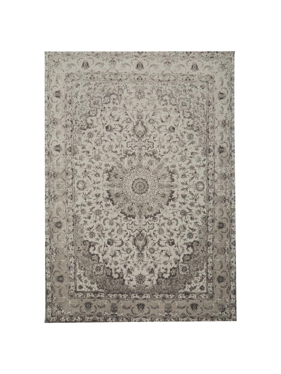 Vintage chenille vloerkleed Sofia in beige-grijs, handgeweven, Bovenzijde: 95% katoen, 5% polyester, Onderzijde: 100% katoen, Beige, grijs, B 200 x L 300 cm (maat L)