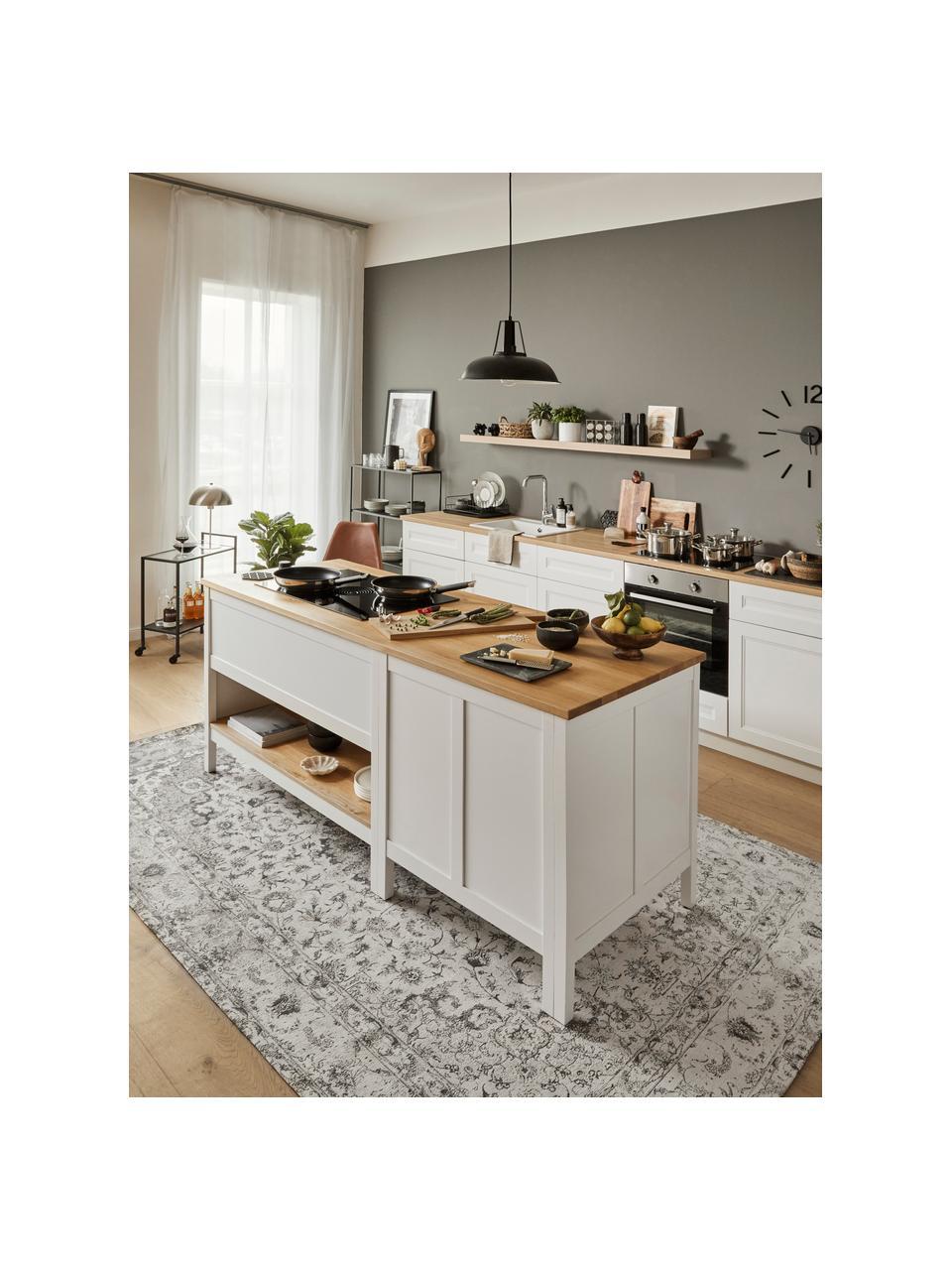 Tappeto vintage in ciniglia color beige-grigio tessuto a mano Sofia, Retro: 100% cotone, Beige, grigio, Larg.160 x Lung. 230 cm (taglia M)