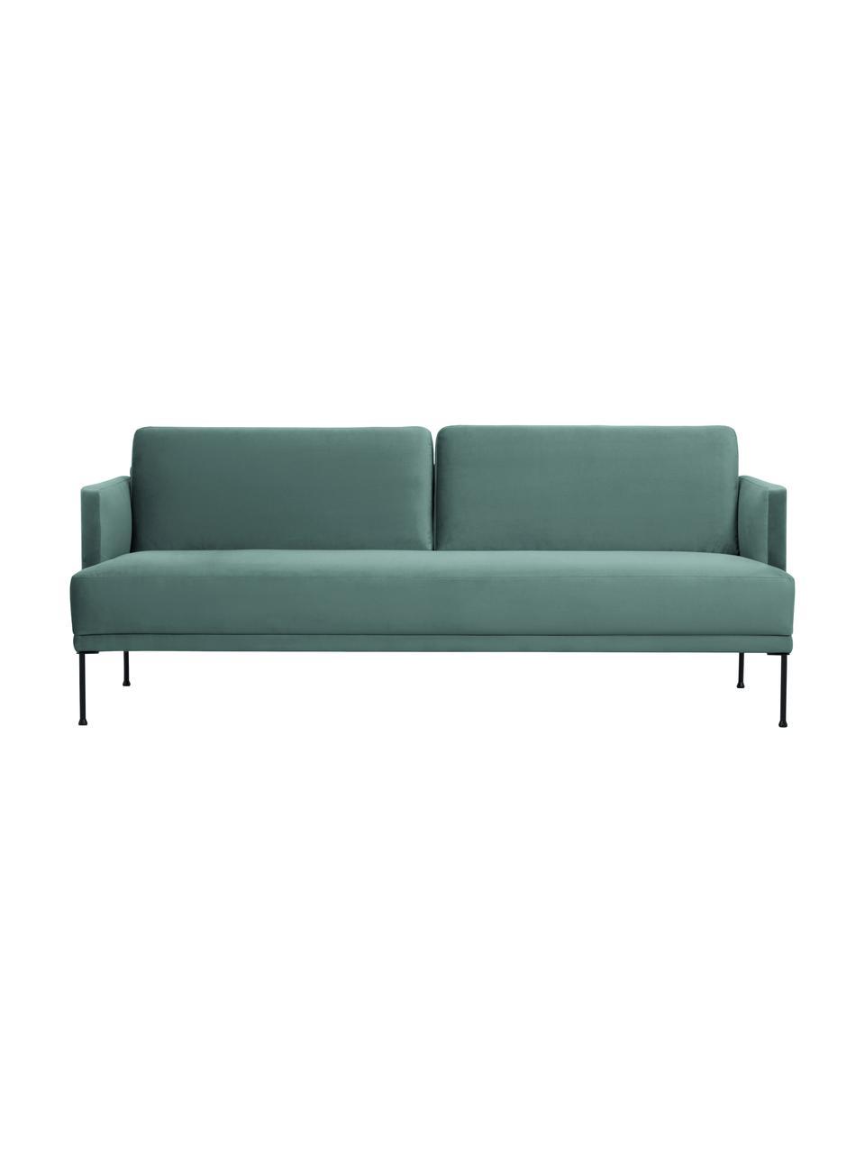 Sofa z aksamitu  z metalowymi nogami Fluente (3-osobowa), Tapicerka: aksamit (wysokiej jakości, Nogi: metal malowany proszkowo, Aksamitny jasny zielony, S 196 x G 85 cm