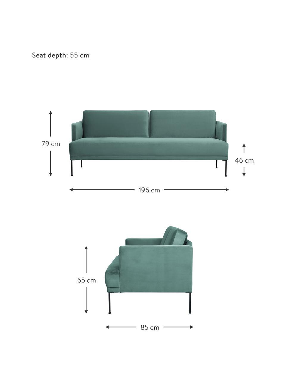 Samt-Sofa Fluente (3-Sitzer) in Hellgrün mit Metall-Füßen, Bezug: Samt (Hochwertiger Polyes, Gestell: Massives Kiefernholz, Füße: Metall, pulverbeschichtet, Samt Hellgrün, B 196 x T 85 cm