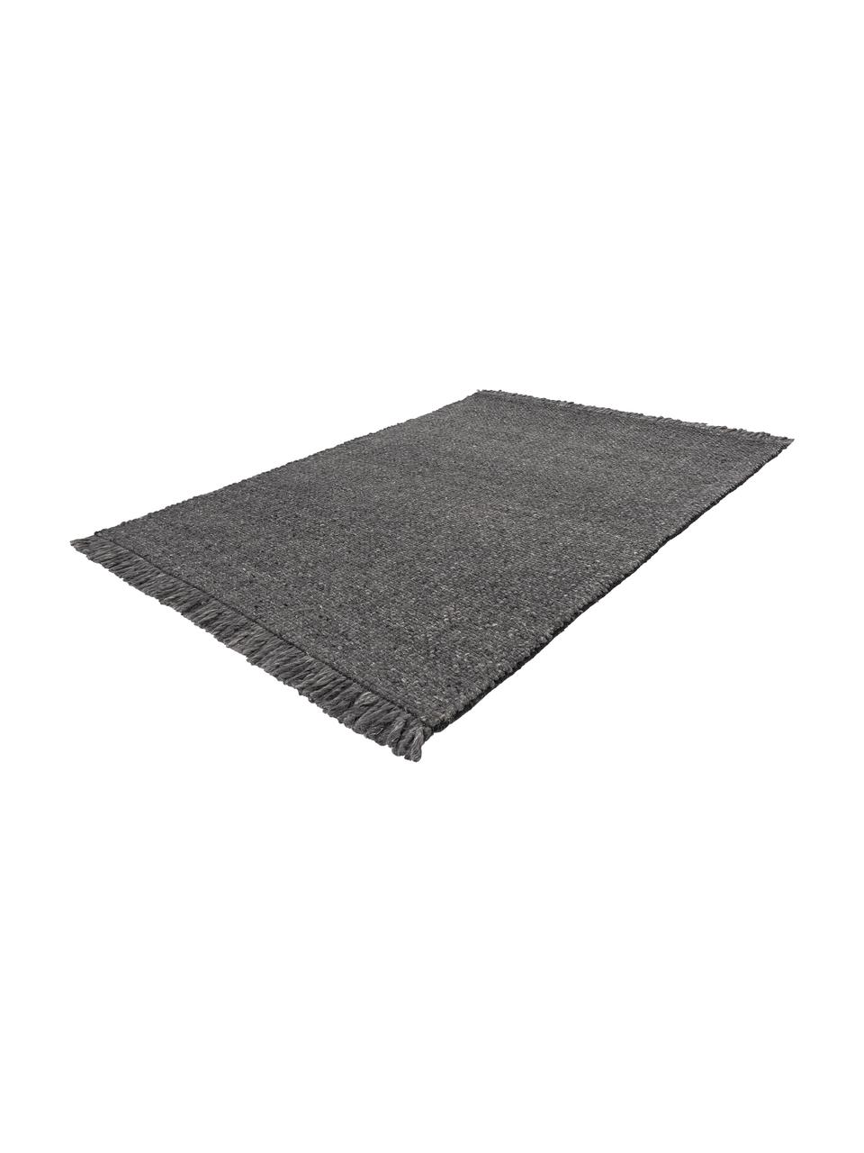 Ręcznie tkany dywan z wełny z frędzlami Alvin, Antracytowy, melanżowy, S 120 x D 170 cm (Rozmiar XS)