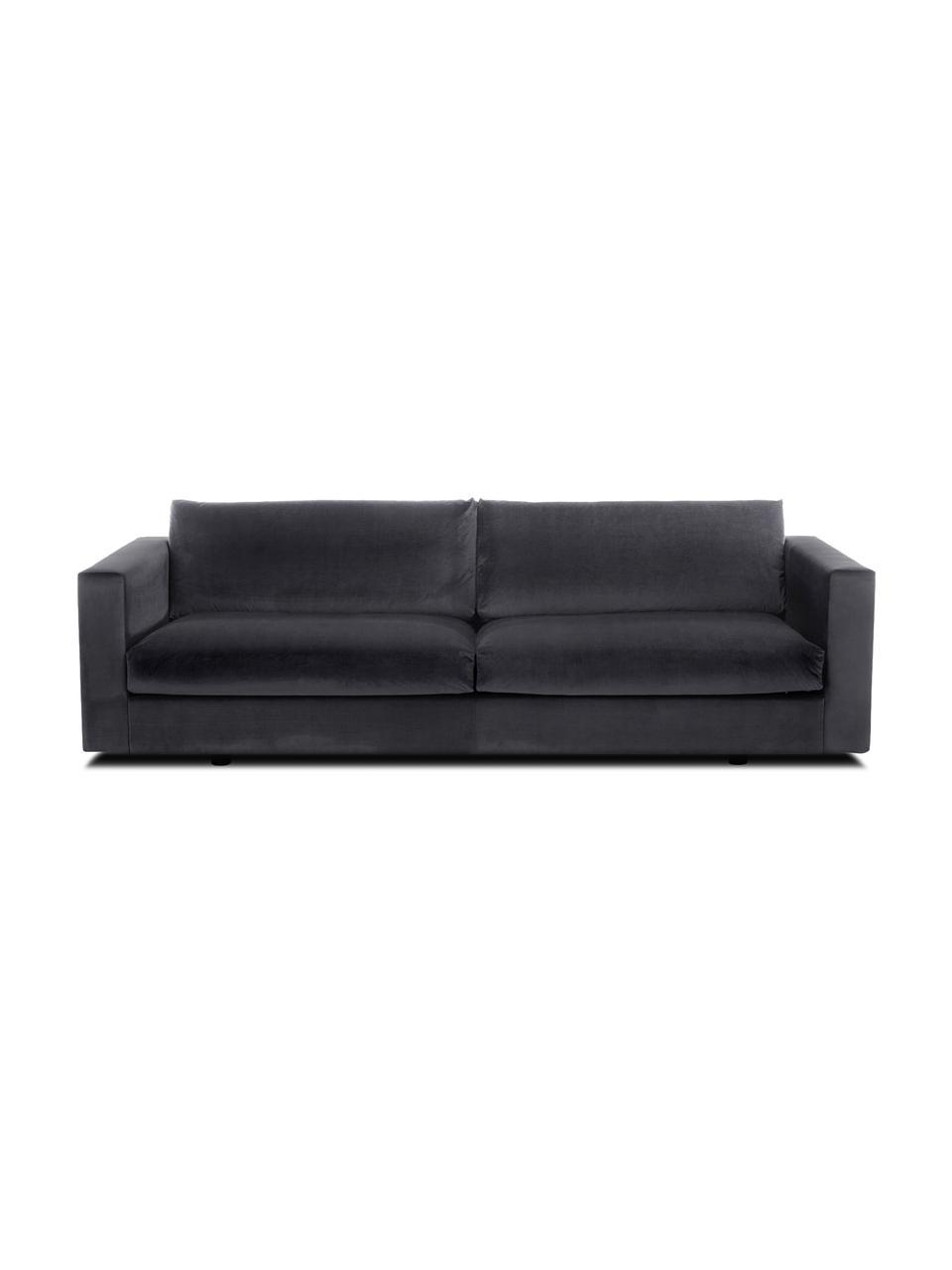 Sofa z aksamitu Balmira (3-osobowa), Tapicerka: aksamit (poliester) 100 0, Nogi: lite drewno brzozowe, lak, Aksamitny ciemny szary, S 240 x G 96 cm