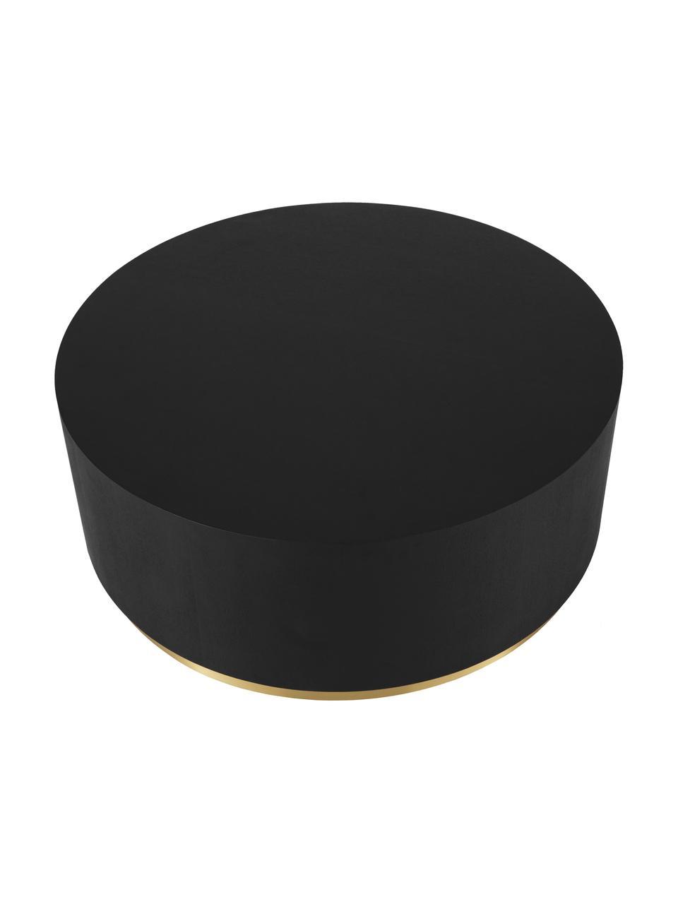 Runder XL-Couchtisch Clarice in Schwarz, Korpus: Mitteldichte Holzfaserpla, Fuß: Metall, beschichtet, Korpus: Eichenholz, schwarz lackiertFuß: Goldfarben, Ø 90 x H 35 cm