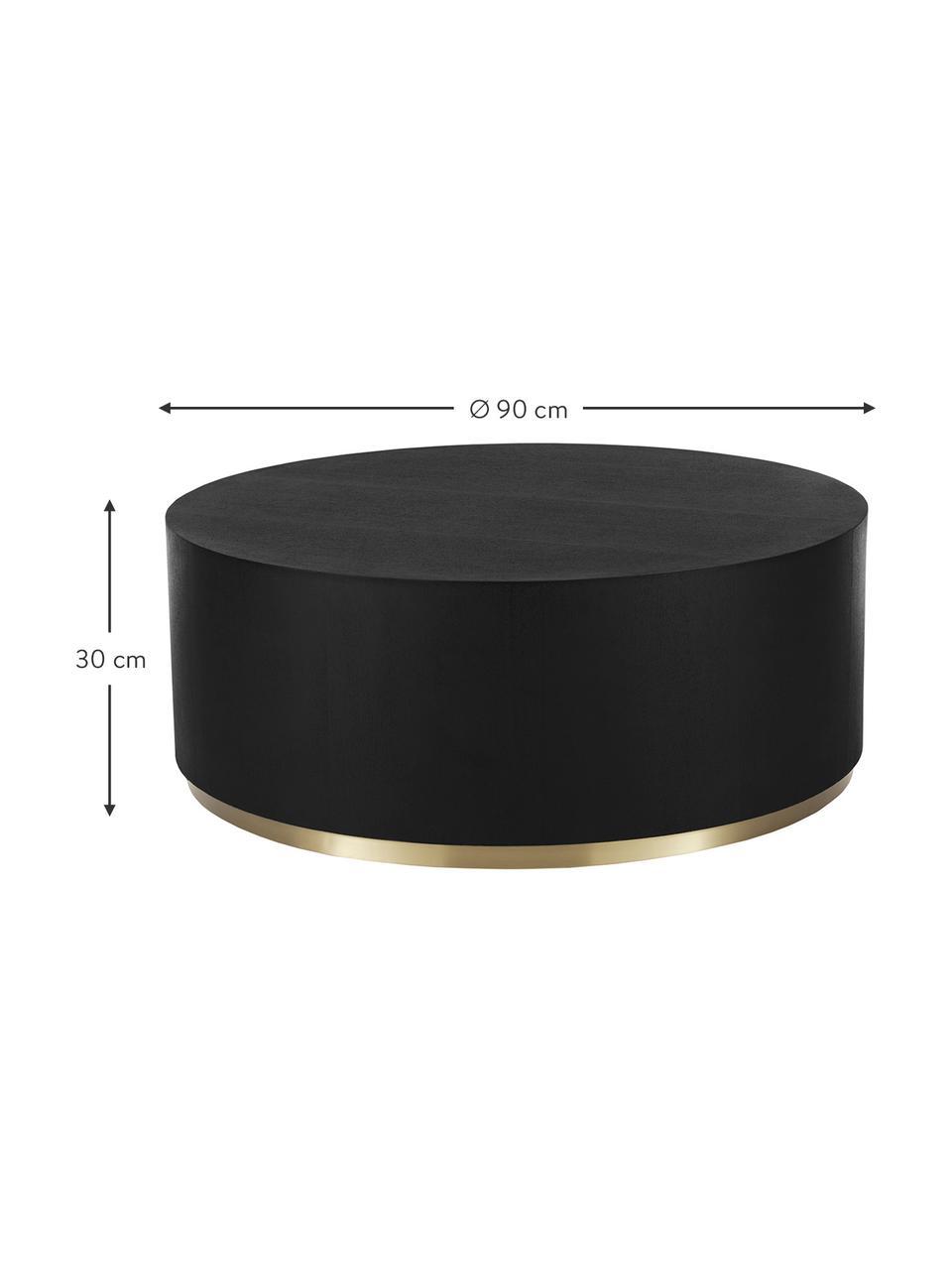 Grande table basse ronde Clarice, Corps: bois de frêne, noir laqué Pied: couleur dorée