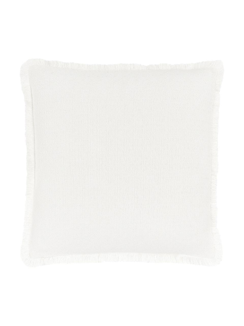 Kissenhülle Lorel in Cremeweiß mit dekorativen Fransen, 100% Baumwolle, Weiß, 40 x 40 cm