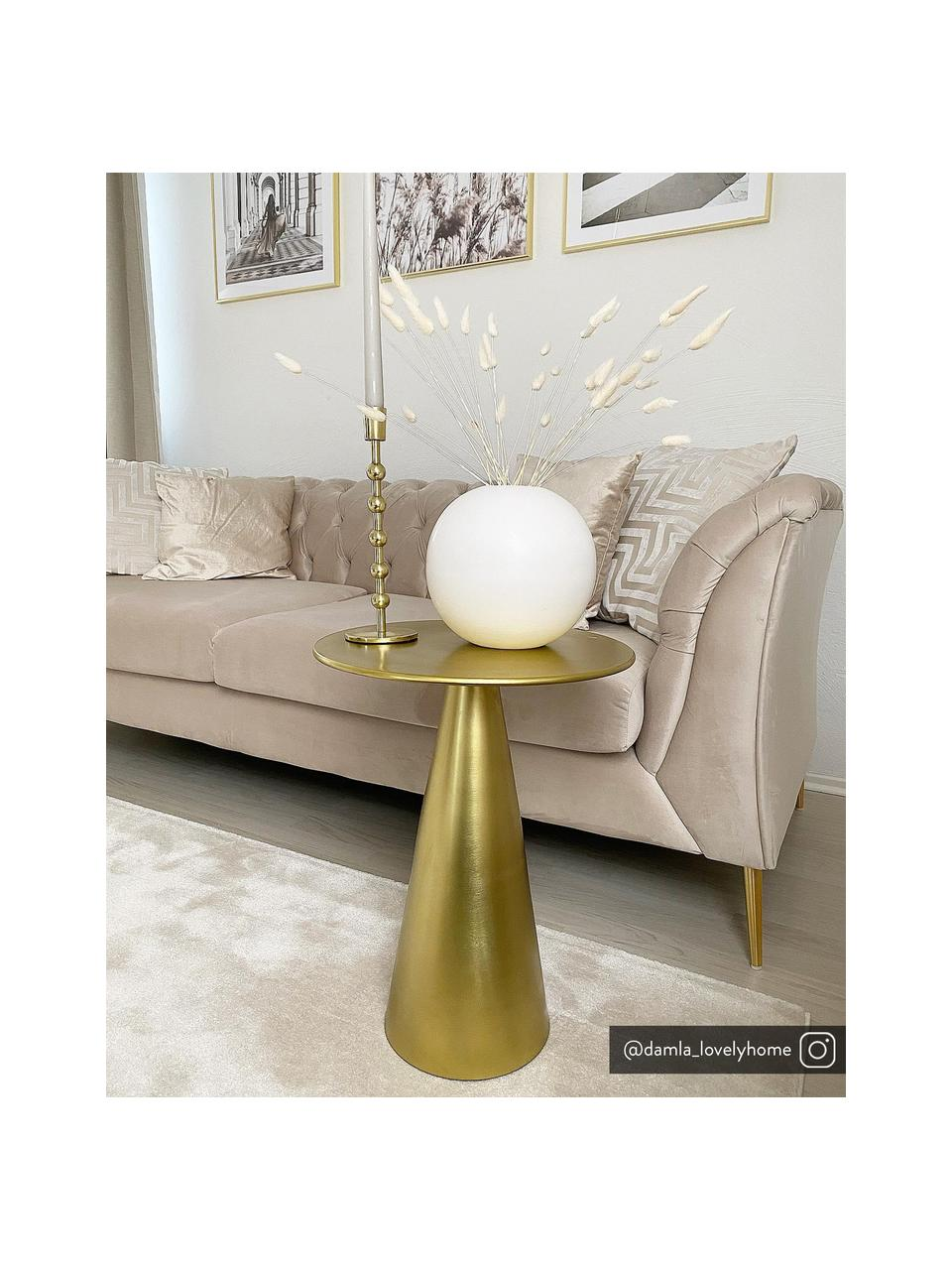 Goudkleurige bijzettafel Rhet, Gegalvaniseerd metaal, Messingkleurig, Ø 39 x H 50 cm