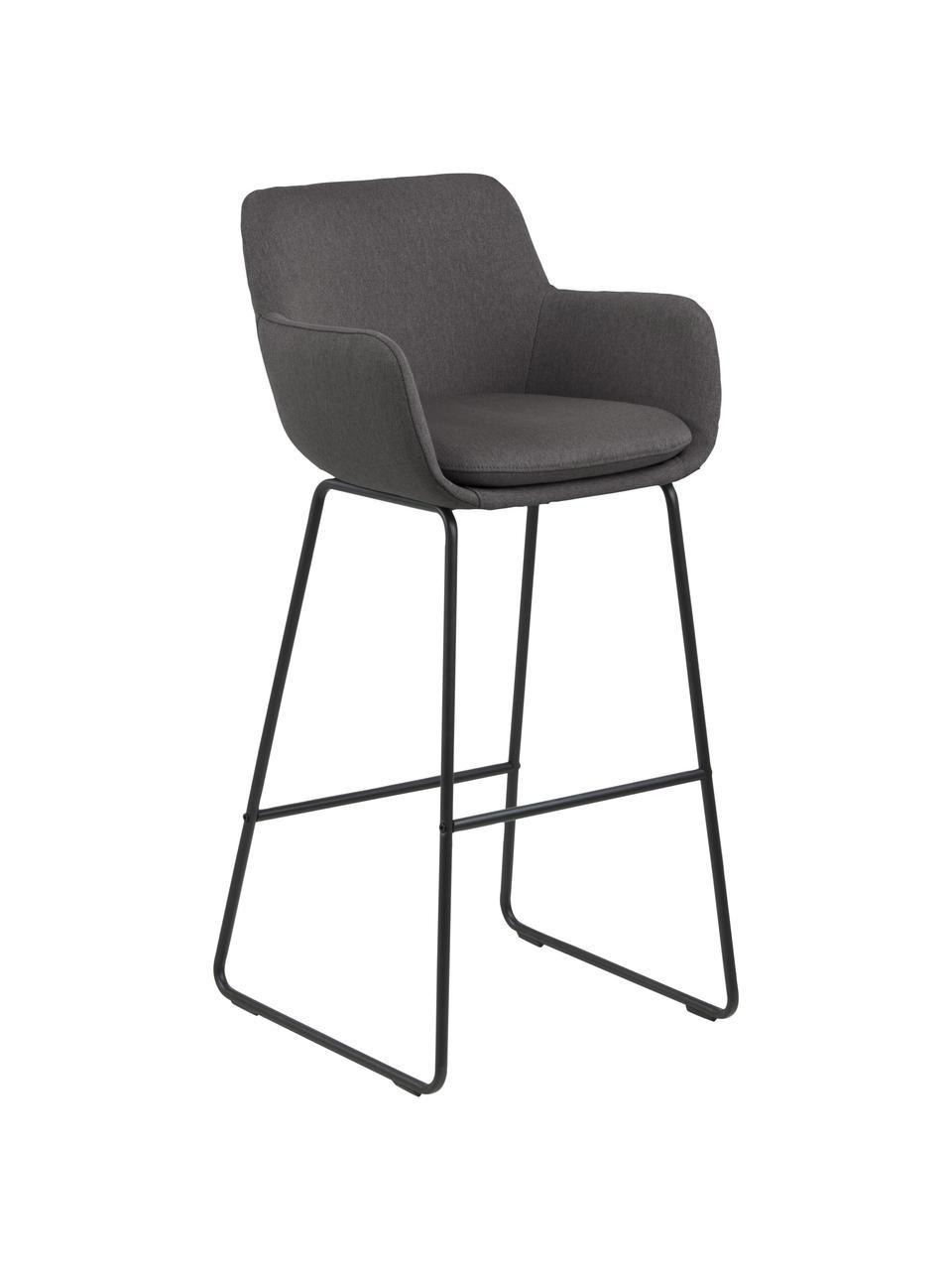 Chaise de bar avec repose-pieds Lisa, 2pièces, Gris foncé, noir