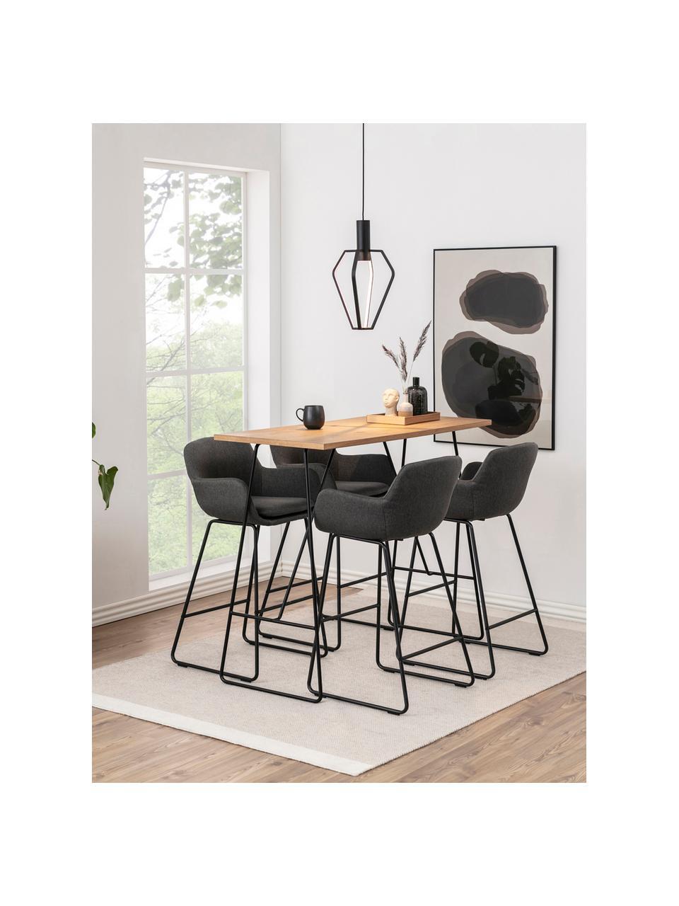 Barstühle Lisa in Grau, 2 Stück, Bezug: Polyester, Gestell: Metall, pulverbeschichtet, Dunkelgrau, Schwarz, 52 x 100 cm
