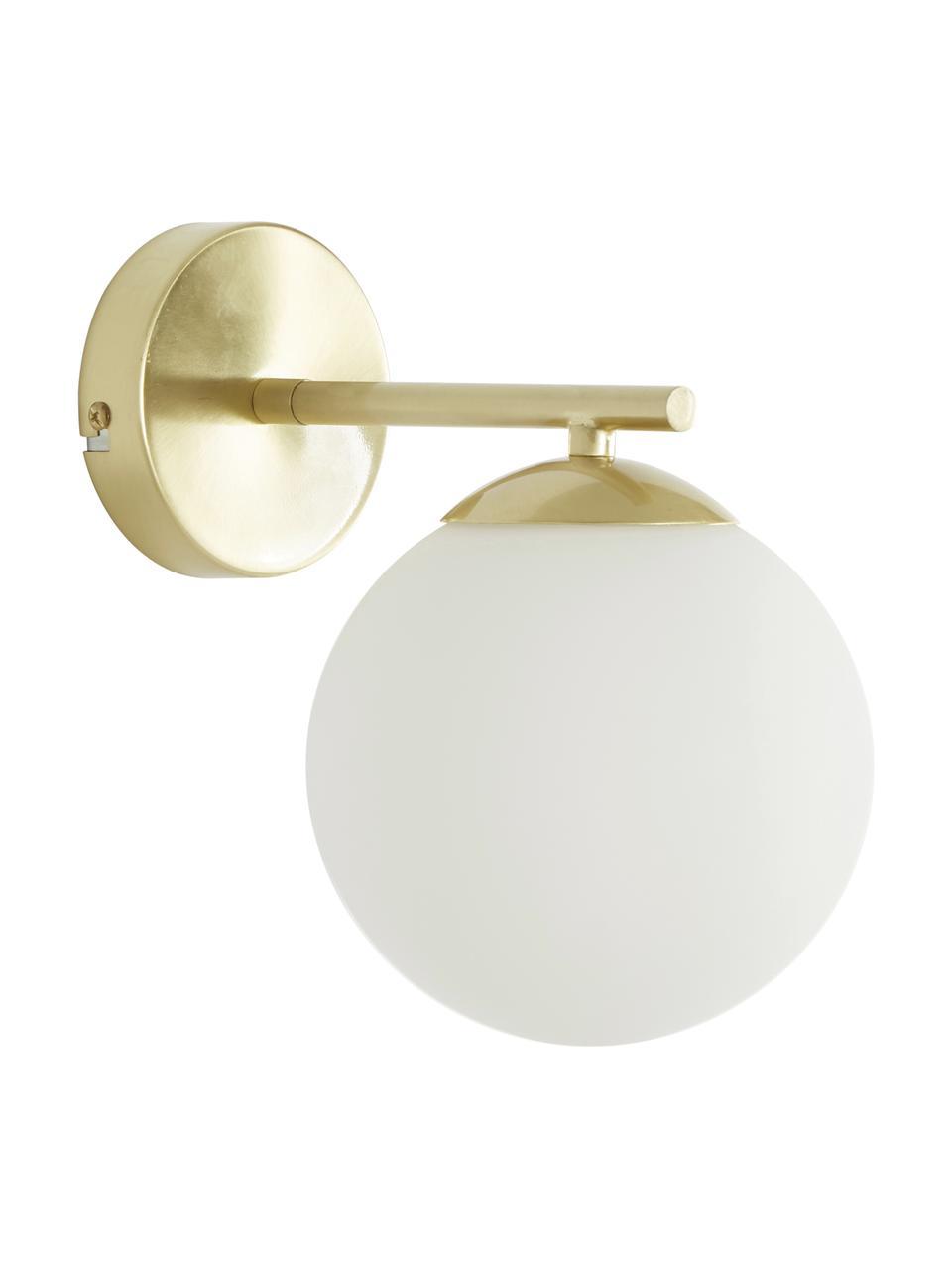 Wandlamp Liv van opaalglas, Lampenkap: glas, Frame: geborsteld metaal, Wit, messingkleurig, 15 x 22 cm
