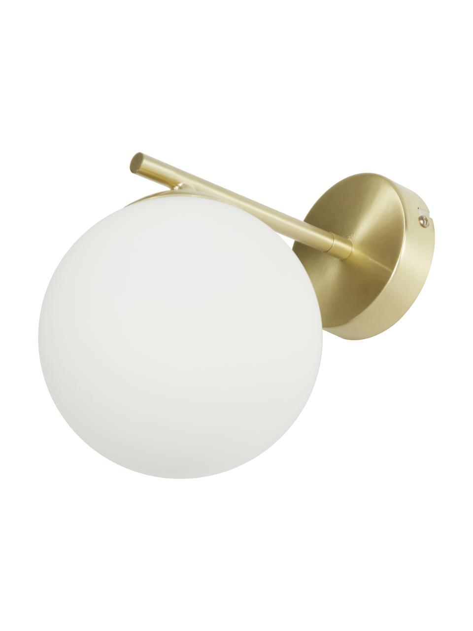 Wandleuchte Liv aus Opalglas, Lampenschirm: Glas, Gestell: Metall, gebürstet, Weiß, Messing, 15 x 22 cm