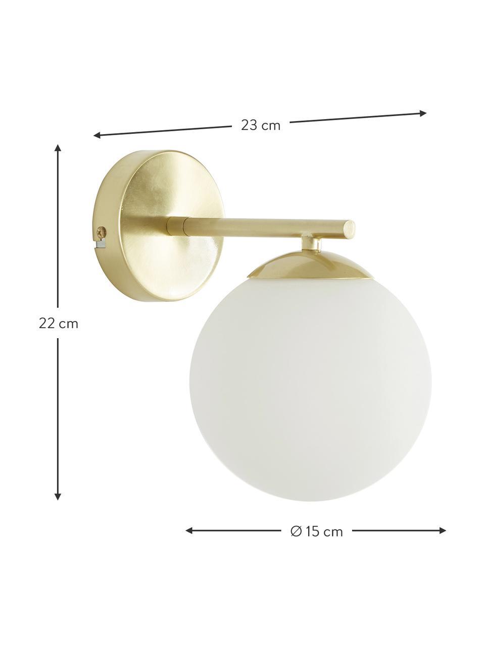 Applique in vetro opale Liv, Paralume: vetro, Struttura: metallo spazzolato, Bianco, ottone, Larg. 15 x Alt. 22 cm