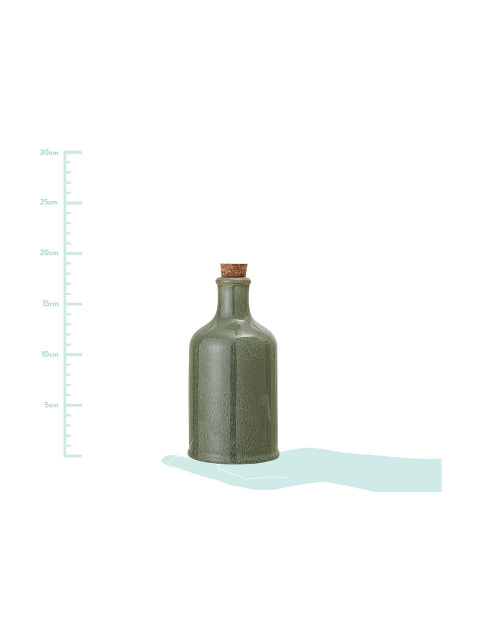 Bottiglia ermetica olio e aceto fatta a mano Pixie, Tonalità verdi, Ø 10 x Alt. 19 cm