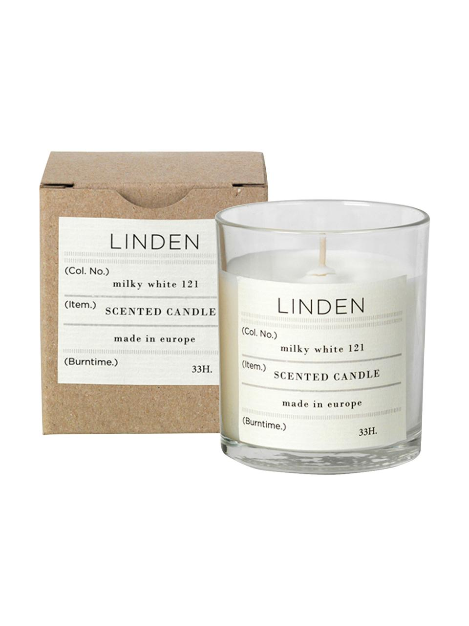Candela profumata Linden (fiore di tiglio), Cera di soia naturale, vetro, Fiore di tiglio, Ø 8 x Alt. 8 cm
