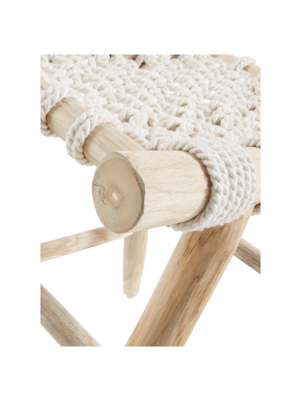 Sgabello in stile boho Edgard, Gambe: legno di teak naturale, Seduta: corda di cotone, Legno di teak, bianco, Larg. 45 x Alt. 45 cm