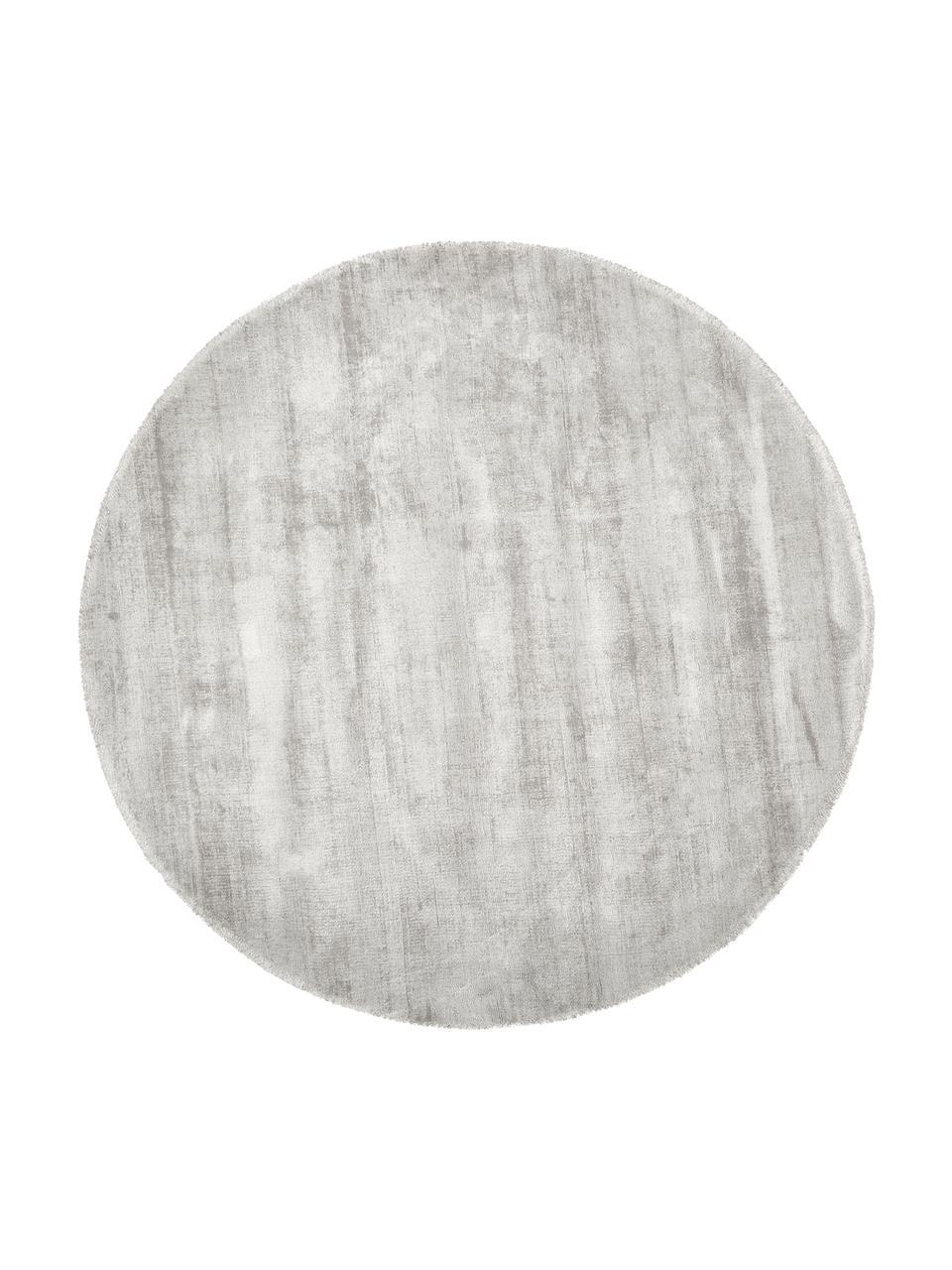 Rond handgeweven viscose vloerkleed Jane in lichtgrijs-beige, Bovenzijde: 100% viscose, Onderzijde: 100% katoen, Lichtgrijs-beige, Ø 150 cm (maat M)