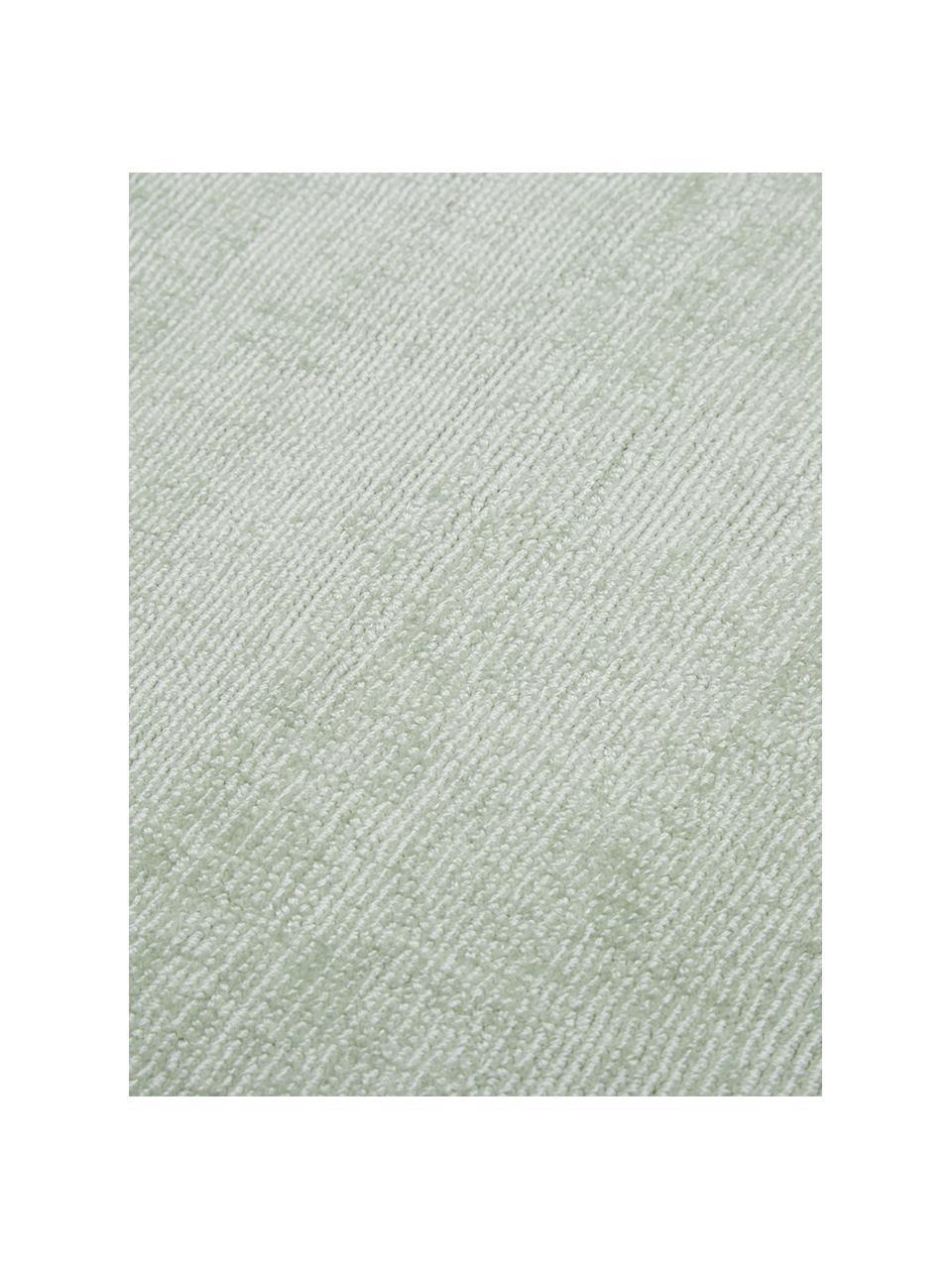 Tappeto in viscosa verde lime tessuto a mano Jane, Retro: 100% cotone, Verde lime, Larg. 120 x Lung. 180 cm (taglia S)