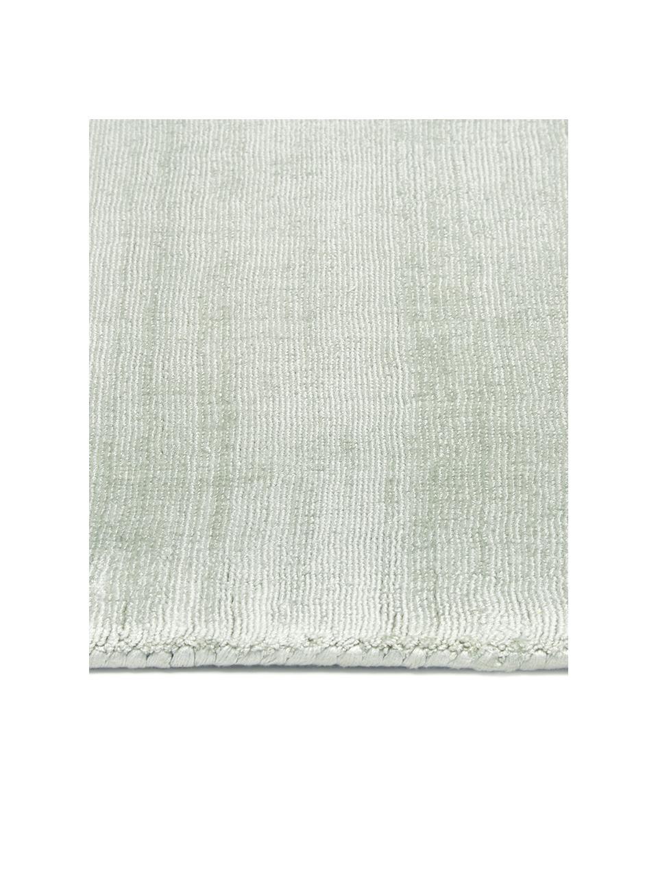 Tappeto in viscosa verde lime tessuto a mano Jane, Retro: 100% cotone, Verde lime, Larg. 160 x Lung. 230 cm (taglia M)