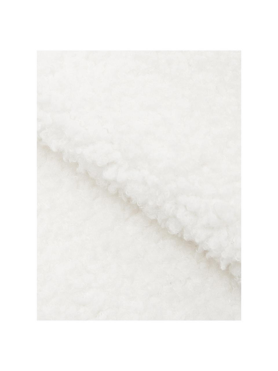 Teddy-Plaid Mille in Weiß, Vorderseite: 100% Polyester (Teddyfell, Rückseite: 100% Polyester, Weiß, 150 x 200 cm