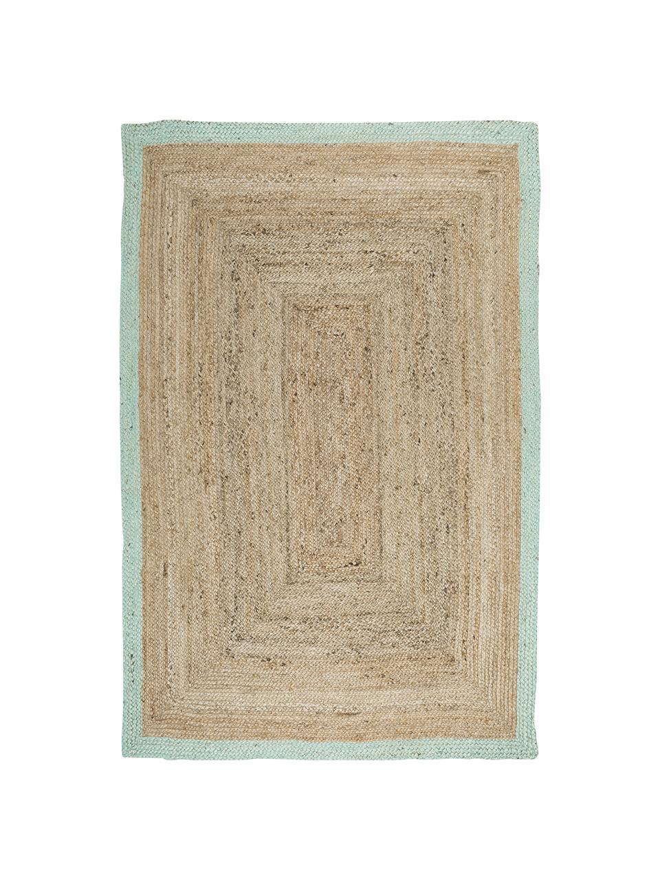 Tappeto in juta fatto a mano con bordo verde menta Shanta, 100% juta, Juta, verde menta, Larg. 80 x Lung. 150 cm (taglia XS)