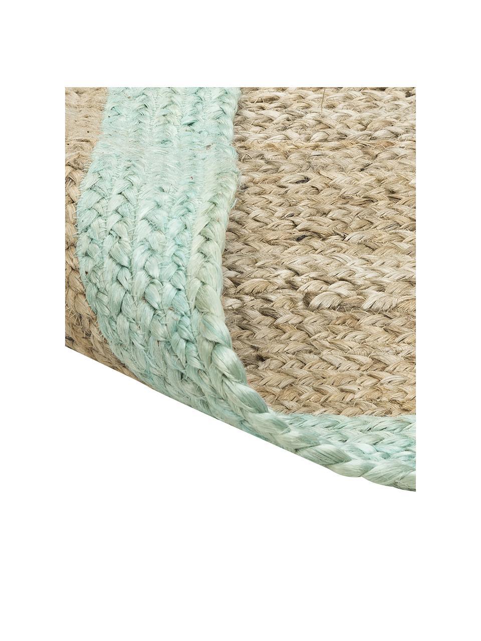 Handgefertigter Jute-Teppich Shanta mit mintgrünem Rand, 100% Jute, Beige, Mintgrün, B 80 x L 150 cm (Größe XS)
