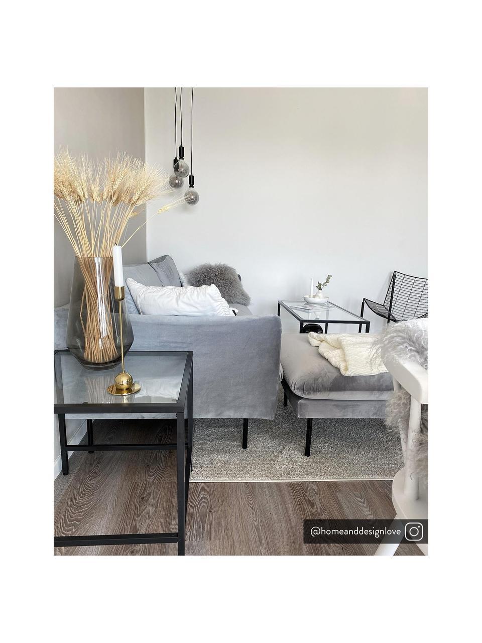 Fluwelen bank Moby (2-zits) in grijs met metalen poten, Bekleding: fluweel (hoogwaardig poly, Frame: massief grenenhout, Poten: gepoedercoat metaal, Fluweel grijs, B 170 x D 95 cm