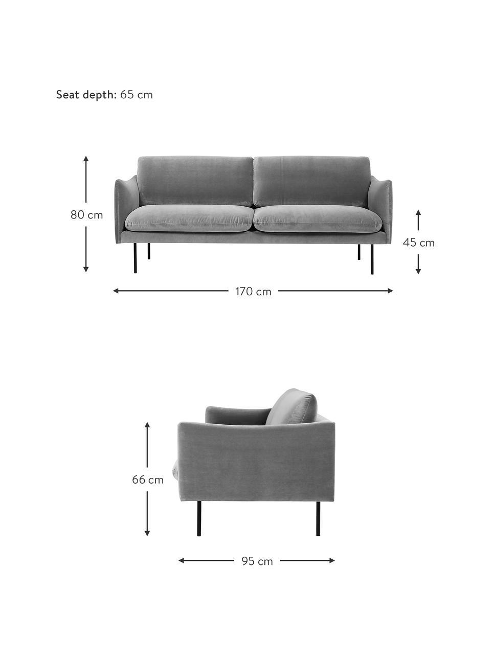 Canapé 2places velours gris pieds en métal Moby, Velours gris