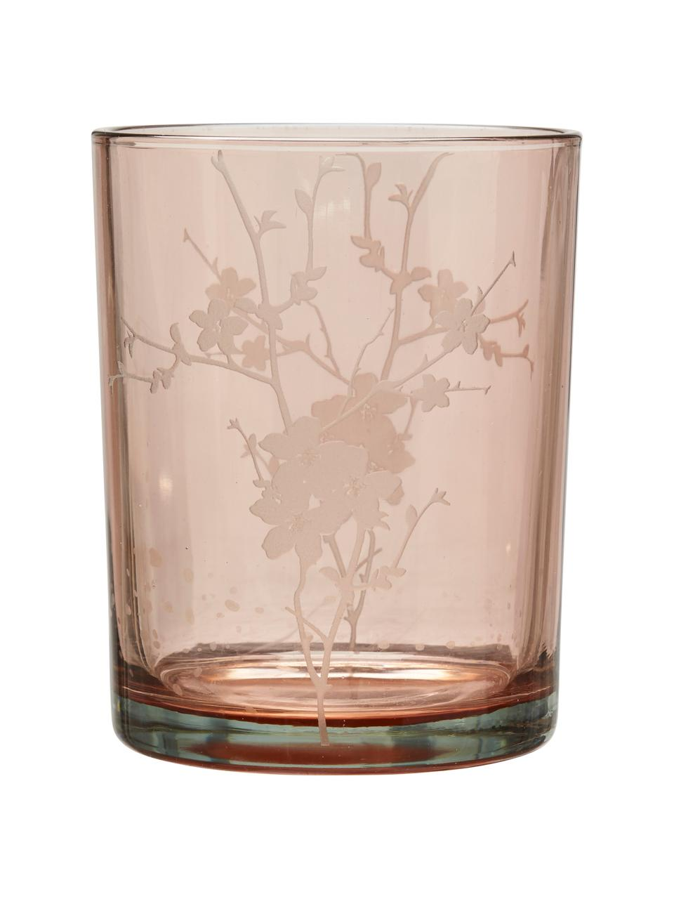 Komplet świeczników na podgrzewacze Flowery, 2 elem., Szkło, nadruk, Różowy, Ø 10 x W 12 cm