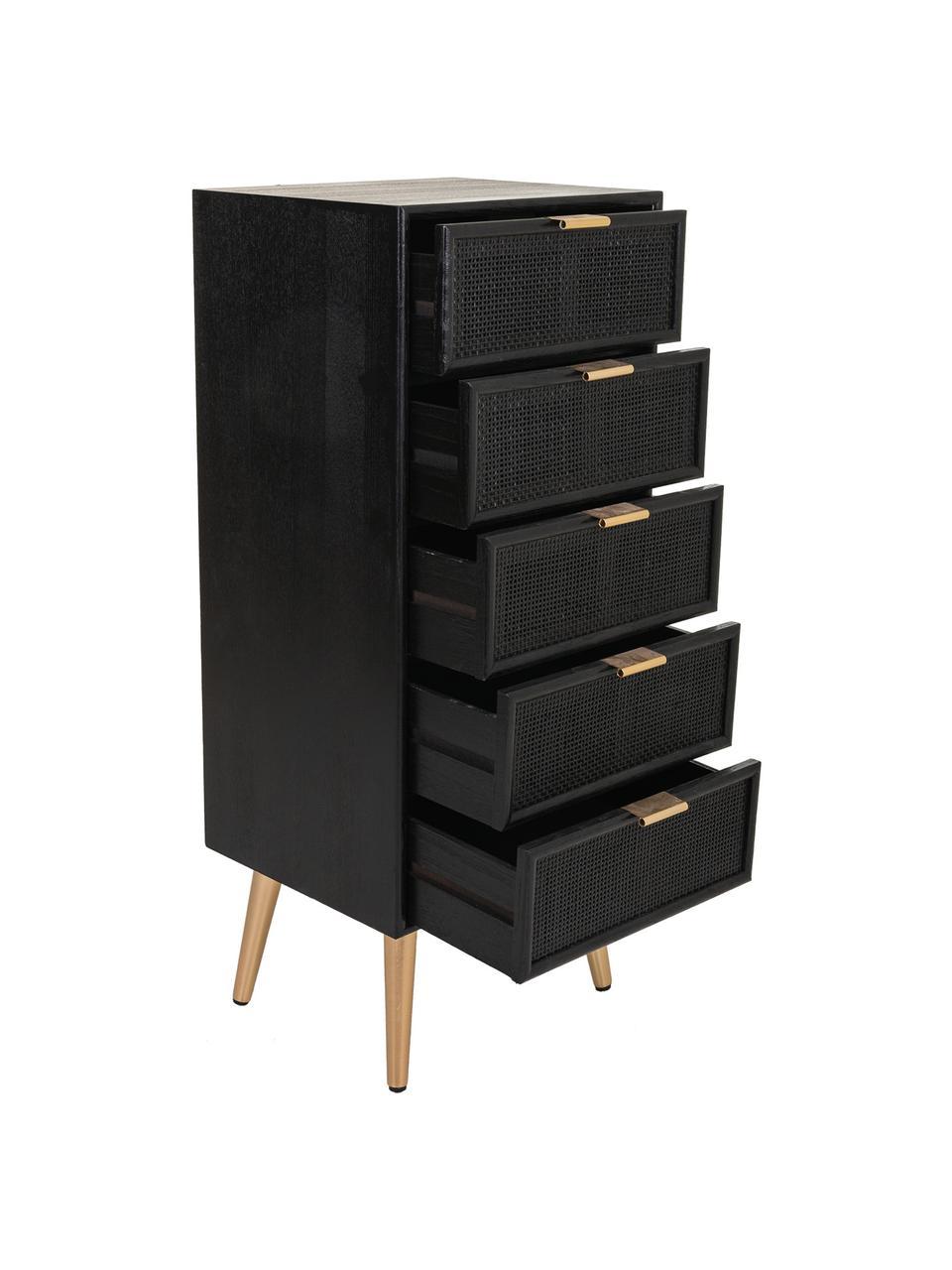 Szafka z szufladami z drewna Cayetana, Korpus: płyta pilśniowa średniej , Nogi: drewno bambusowe, lakiero, Czarny, S 42 x W 101 cm