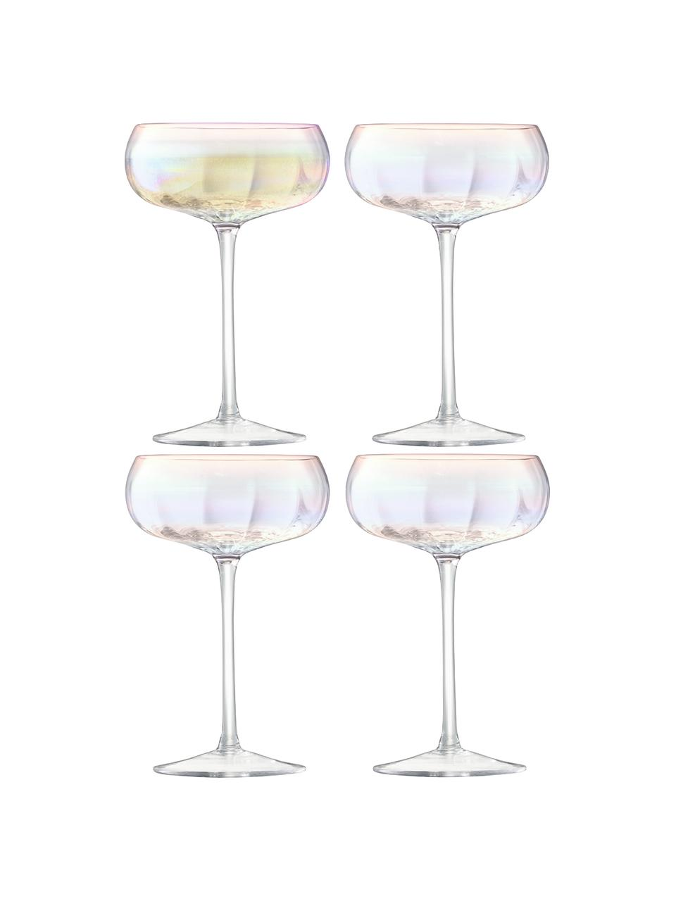 Mondgeblazen champagneglazen Pearl met een glinsterende parelmoer glans, 4 stuks, Glas, Parelmoerglans, Ø 11 x H 16 cm