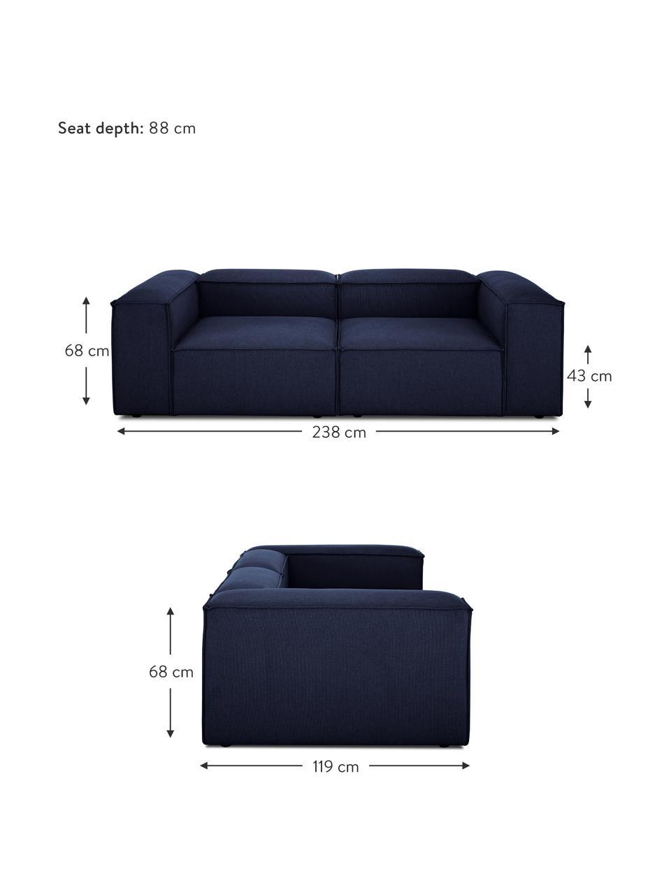 Sofa modułowa Lennon (3-osobowa), Tapicerka: 100% poliester Dzięki tka, Stelaż: lite drewno sosnowe, skle, Nogi: tworzywo sztuczne Nogi zn, Niebieski, S 238 x G 119 cm