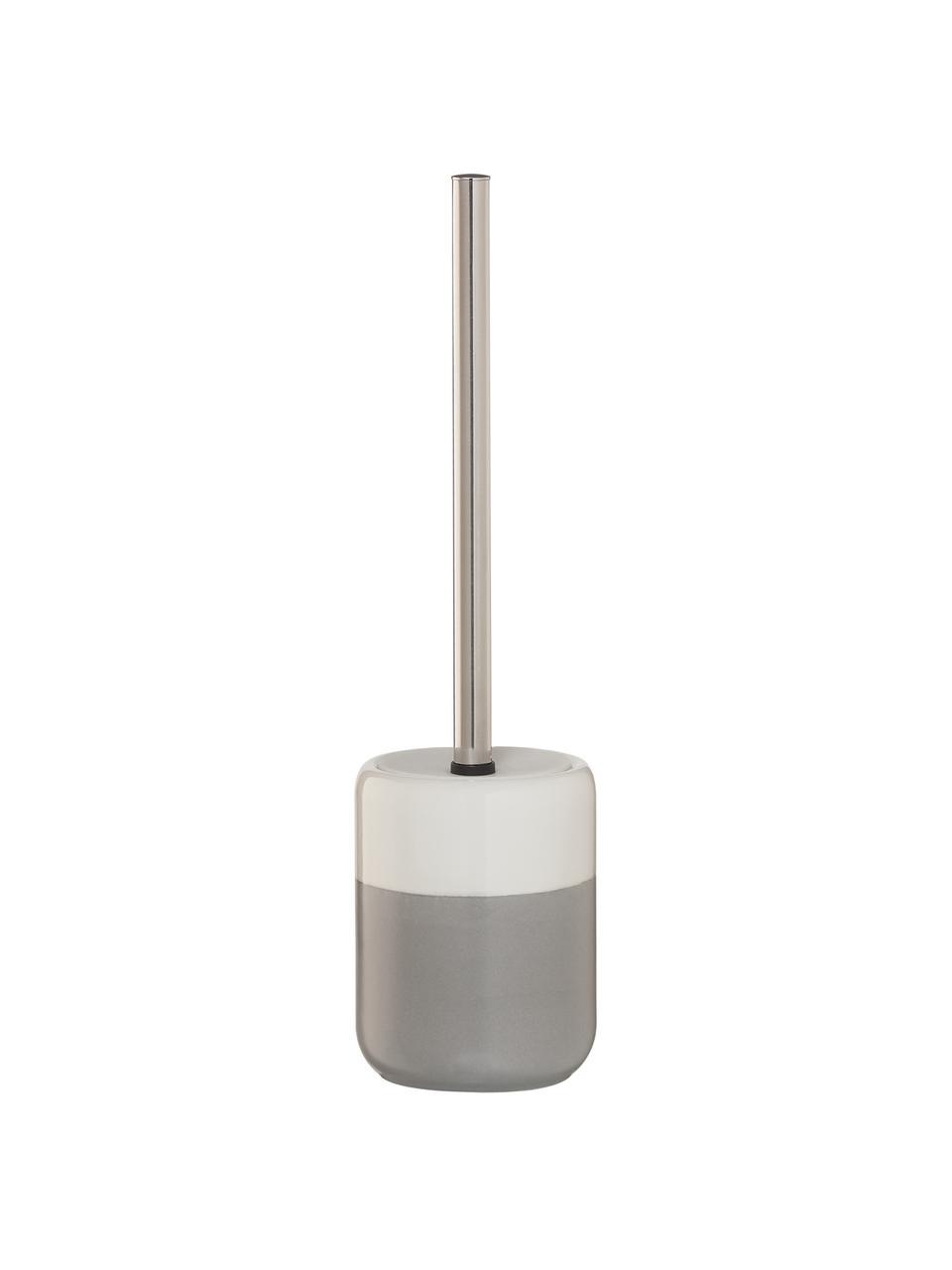 Toilettenbürste Sphere mit Porzellan-Behälter, Gefäß: Porzellan, Gefäß: Hellgrau, WeißToilettenbürste: Edelstahl, Ø 10 x H 38 cm