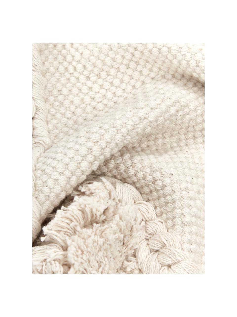 Federa arredo con ornamenti decorativi Selina, 100% cotone, Beige, Larg. 45 x Lung. 45 cm
