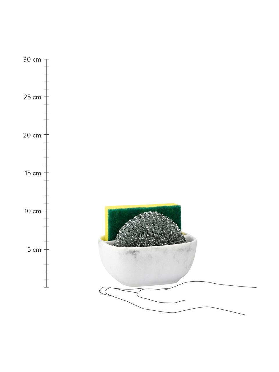 Uchwyt na gąbki Galia, 3 elem., Biały, odcienie srebrnego, S 13 x W 6 cm