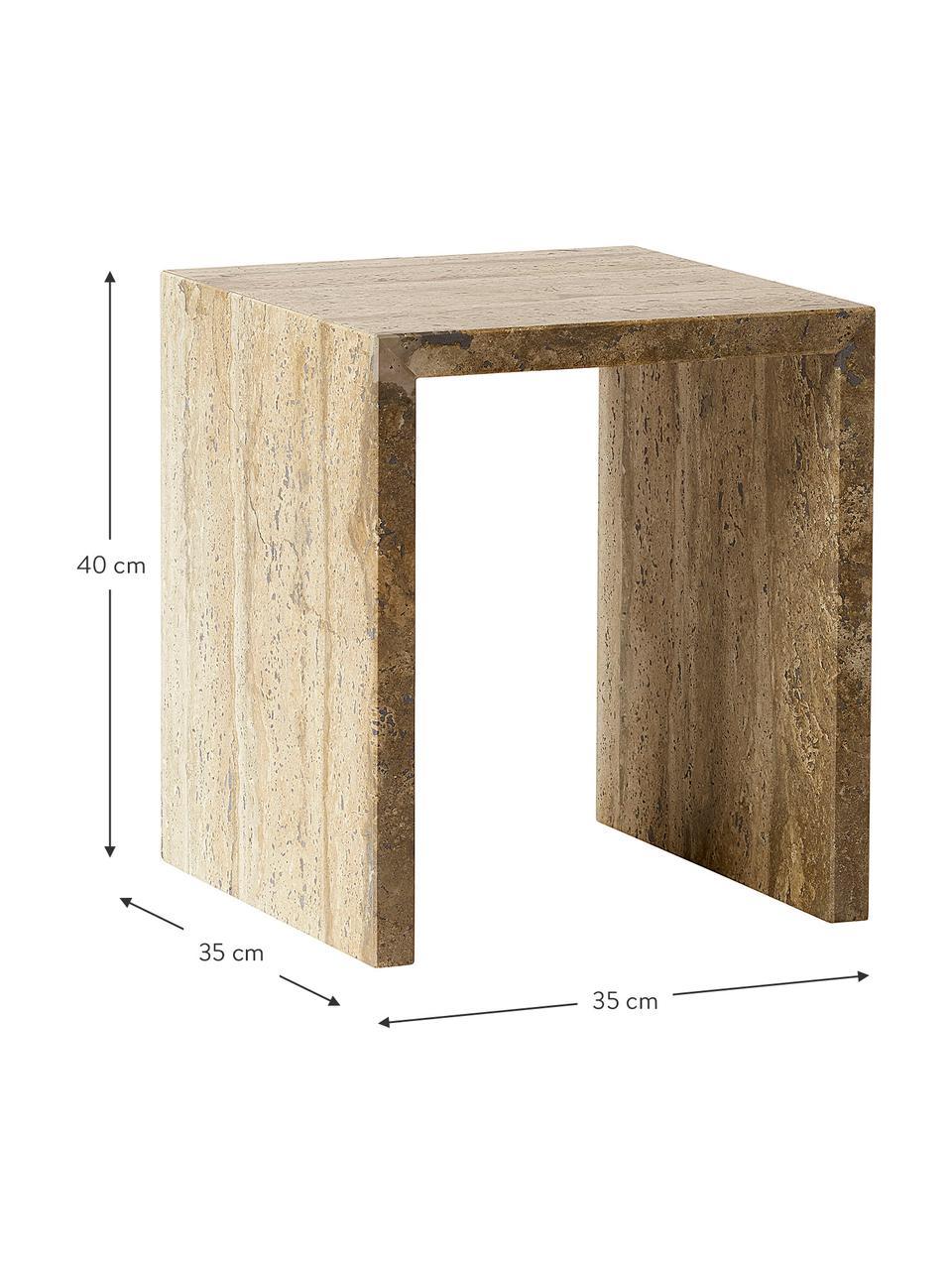 Tavolino design minimalista Travertin, Travertino, Beige, Larg. 35 x Prof. 35 cm