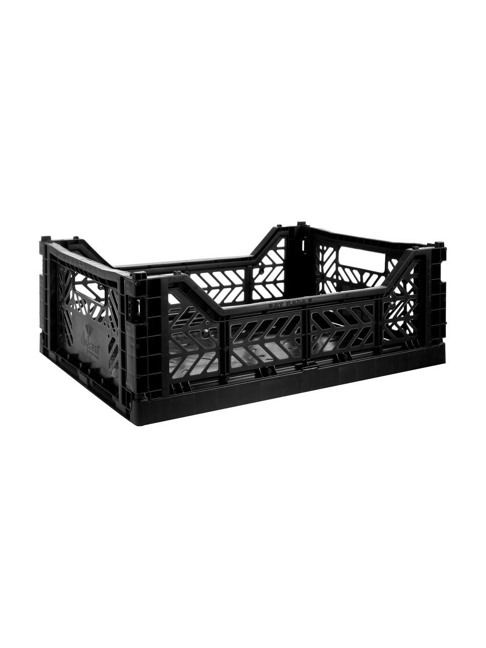 Caisse pliable de taille moyenne Black, empilable, Noir