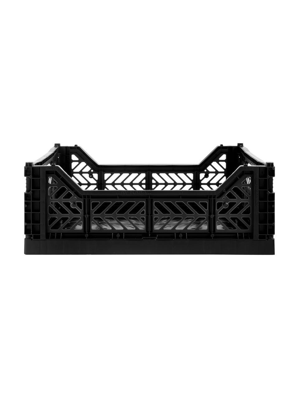 Klappbox Black, stapelbar, medium, Recycelter Kunststoff, Schwarz, 40 x 14 cm
