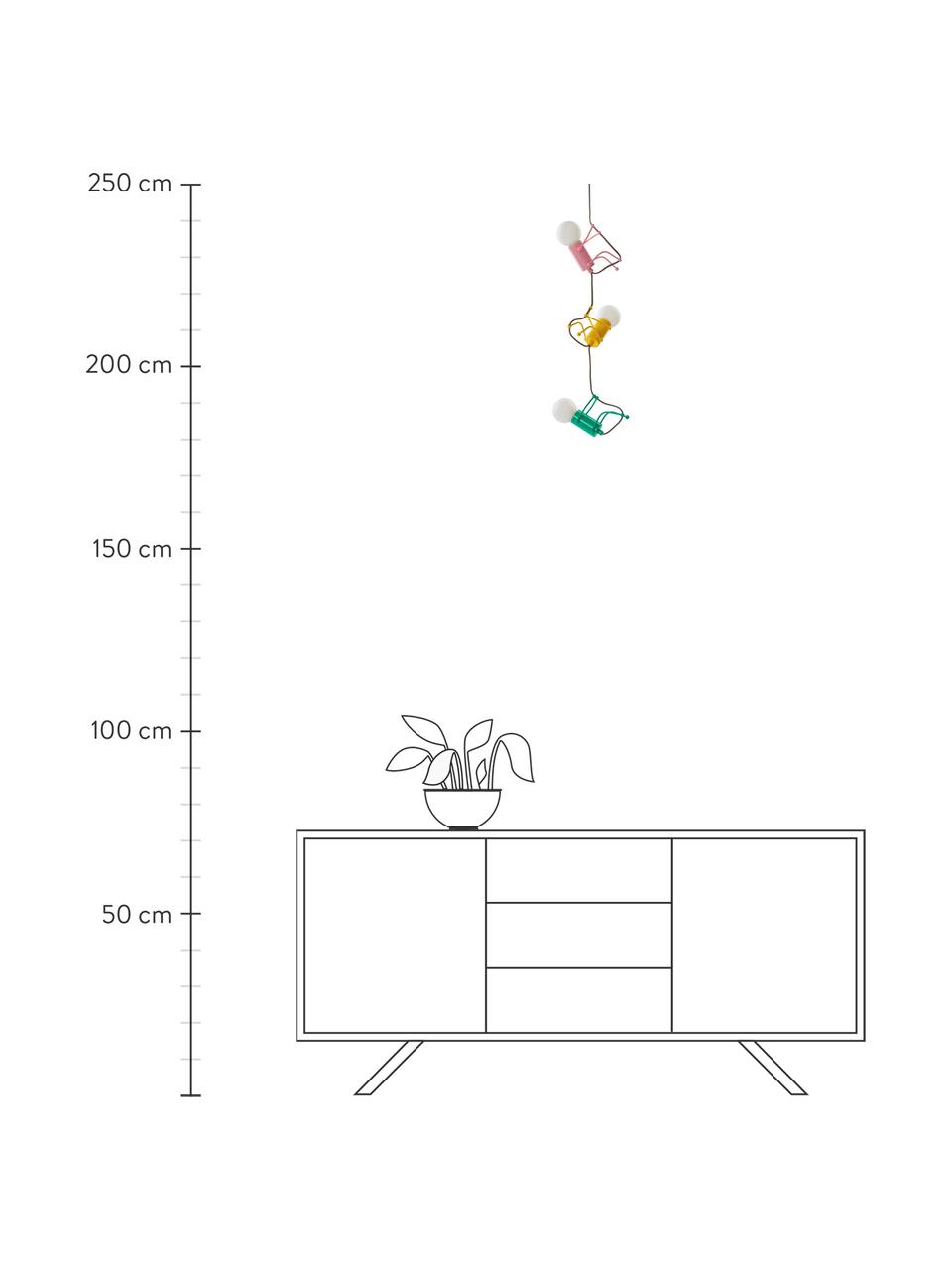 Lampada a sospensione Chicos, Struttura: metallo rivestito, Giallo, verde, rosa, Ø 18 x Alt. 17 cm
