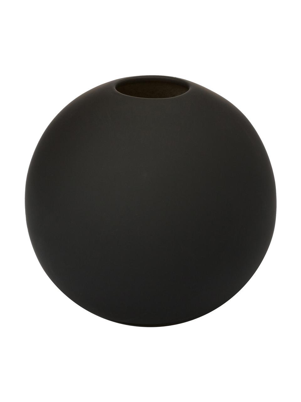 Ręcznie wykonany wazon Ball, Ceramika, Czarny, Ø 10 x W 10 cm