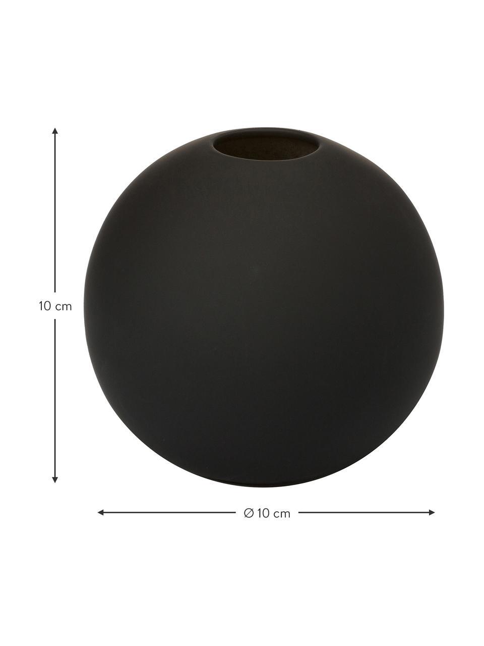 Vaso a sfera fatto a mano Ball, Ceramica, Nero, Ø 10 x Alt. 10 cm
