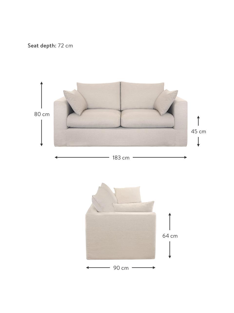 Sofa Zach (2-Sitzer) in Beige, Bezug: Polypropylen Der hochwert, Füße: Kunststoff, Webstoff Beige, B 183 x T 90 cm