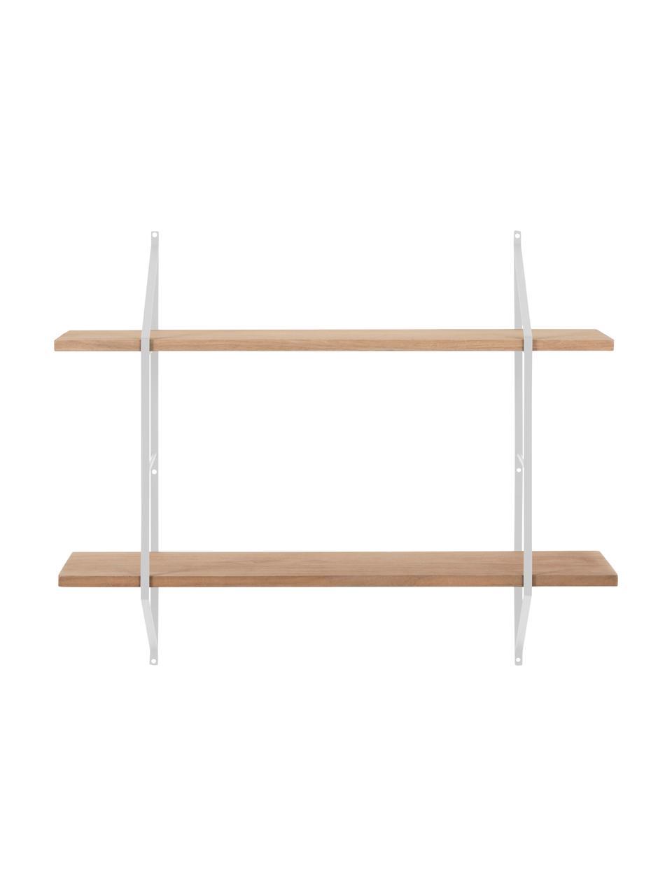 Ripiano da parete in legno e metallo Belfast, Struttura: metallo verniciato a polv, Mensole: legno di paulownia, tinto, Bianco, marrone chiaro, Larg. 76 x Alt. 63 cm