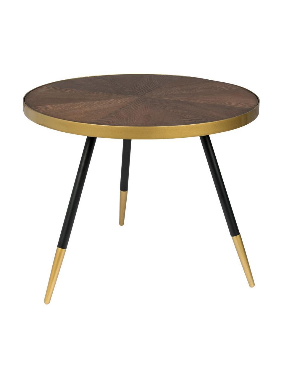 Runder Couchtisch Denise, Tischplatte: Mitteldichte Holzfaserpla, Eschenholz, Goldfarben, Ø 61 x H 40 cm