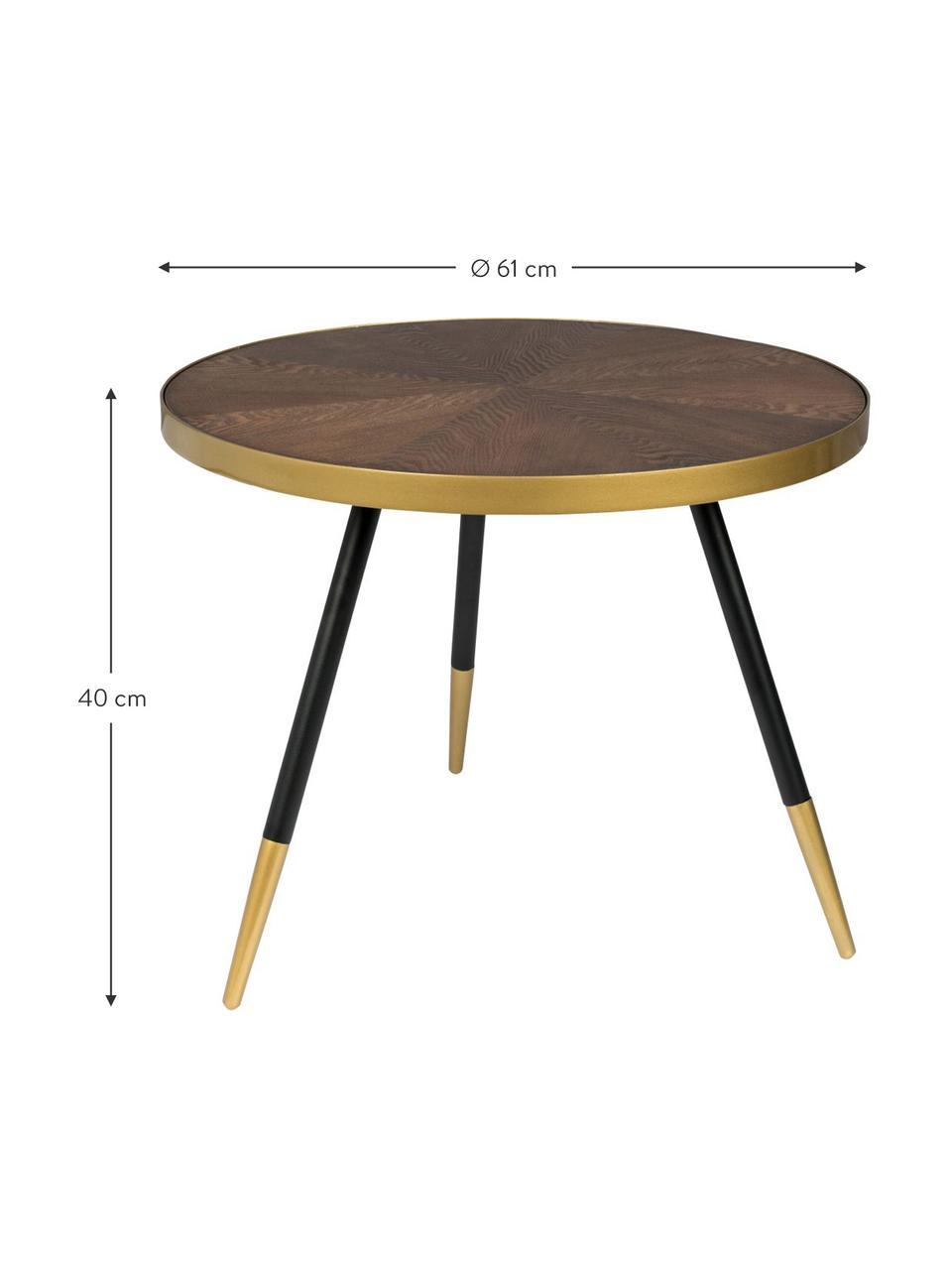 Tavolino da salotto rotondo Denise, Piano d'appoggio: pannelli di fibra a media, Legno di frassino, dorato, Ø 61 x Alt. 40 cm